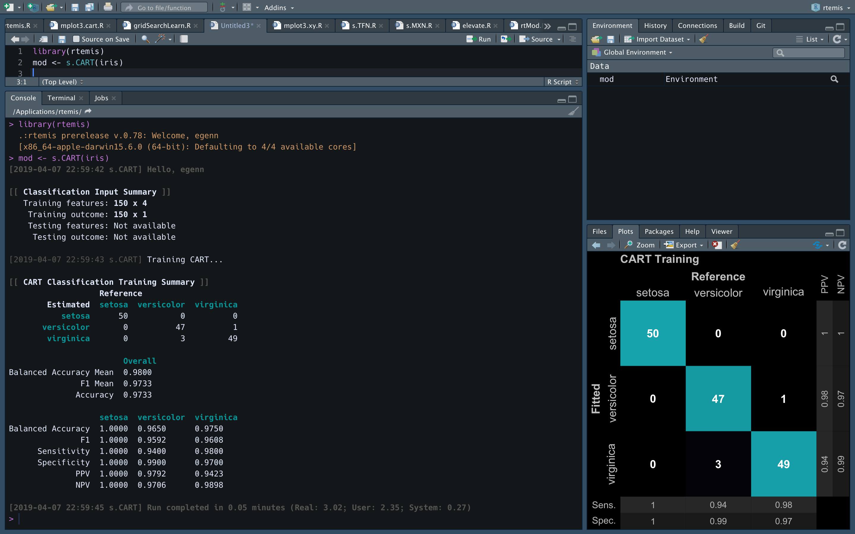 rtemis running in RStudio with the (recommended) dark theme